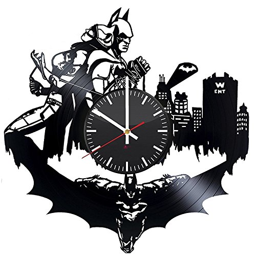 Superheroes Couple HANDMADE Vinyl Record Wall Clock - Get unique bedroom wall decor - Gift ideas for men and women – Comics Figures Silhouette Unique Modern Art