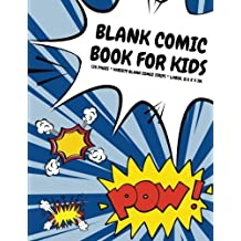 Blank Comic Book for Kids: 135 Pages, Variety Blank Comic Strips, Superhero Blue