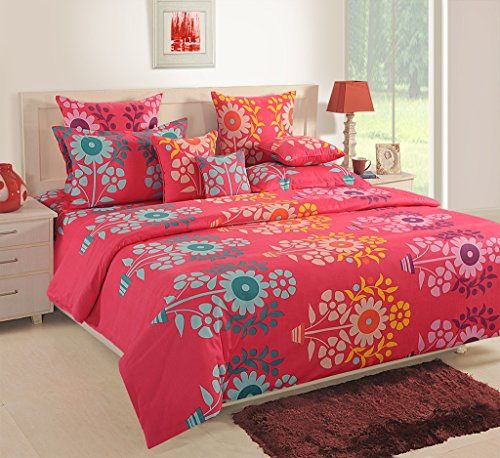 Swayam 120 TC Cotton Double Bed Sheet with 2 Pillow Covers – Floral, Red.
