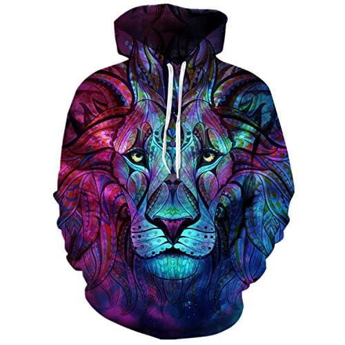 EnlaChic Unisex Harajuku Realistic 3D Wolf Lion Printed Pullover Hoodie Hooded Sweatshirt S-XXL free shipping