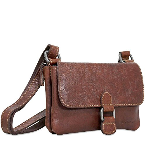 - Jack Georges Voyager Mini Crossbody Brown Hand Stained Buffalo Leather Bag