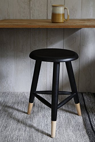 Wooden Round Stool Counter Table Modern Black Three Legged Sitting Stool For Kitchen and Bar Counter Home Furniture Decor