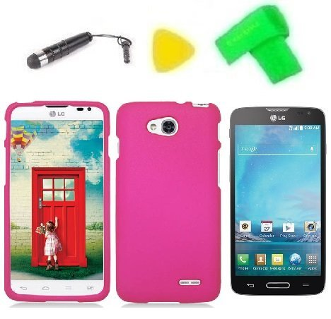 - Phone Case Cover Cell Phone Accessory + Extreme Band + Stylus Pen + LCD Screen Protector + Yellow Pry Tool for LG Optimus L90 (Pink)