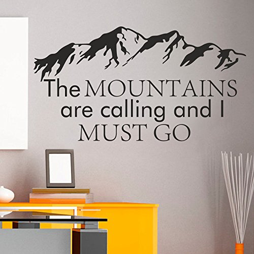 Mountain Wall Decal The Mountains Are Calling And I Must Go John Muir Quotes Forest Rustic Wall Decor Bedroom Nursery Wall Art(Black,l)