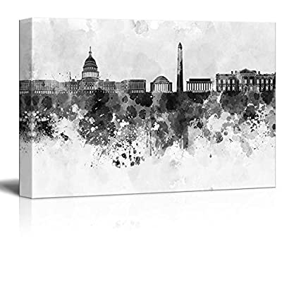 Marvelous Visual, Made With Top Quality, Black and White City of Washington DC with Watercolor Splotches