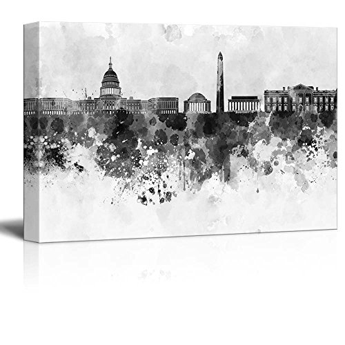 (wall26 - Black and White City of Washington DC with Watercolor Splotches - Canvas Art Home Decor - 16x24)