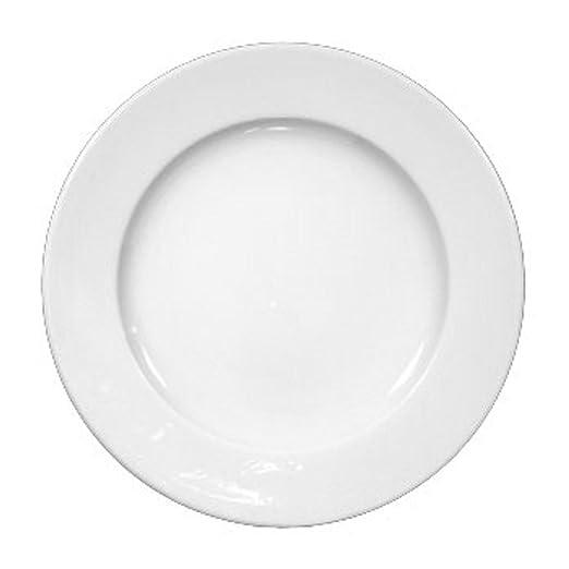 Porcelana Dise/ño cl/ásico con Borde Interior Pack de 6 Argon Tableware Juego de Platos Llanos Blanco 30/cm
