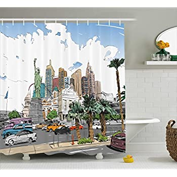 Ambesonne USA Shower Curtain Hand Drawn Las Vegas City Nevada Street Sketch Buildings Statue Of Liberty Cars Palms Fabric Bathroom Decor Set With Hooks
