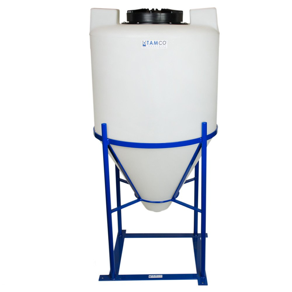 Tamco Industries 55 Gallon Cone Bottom Tank with Mixer Mounts & 1.5inch FNPT Boss Fitting (Full Drain) - 26inch Diameter x 42inch High