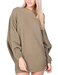Rimi Hanger Womens Ladies Long Sleeve Plain Off Shoulder Knitted Batwing Top (S-M-L)