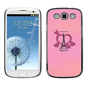 Caucho caso de Shell duro de la cubierta de accesorios de protección BY RAYDREAMMM - Samsung Galaxy S3 I9300 - Bonjour Paris Love Heart France Romance