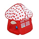 Kids Pop Up Play Tent with Shade Ball House Mushroom Shape Play Tent Pit Ball Pool for Indoor and Outdoor (Red, 37 * 37 * 38 Inch)