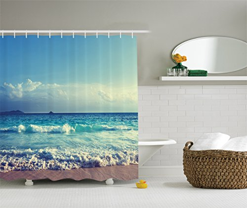 Tropical Island Decor (Tropical Island Decor by Ambesonne, Ocean Waves Seychelles Beach in Sunset Time Picture Print , Polyester Fabric Bathroom Shower Curtain Set with Hooks, 75 Inches Long, Navy Blue White)