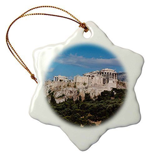 Acropolis Athens View Greece - pansy Novelty Christmas Decorations Central Greece Athens Elevated Acropolis View From Pnyx Hill Porcelain Snowflake Ornament Craft Crafts Xmas Tree Hanging