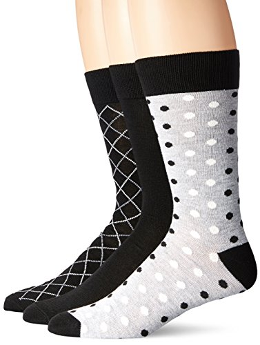Hanes Ultimate Men's 3-Pack X-Temp Crew Knit Dress Socks, Black with White,  Grey Heather Diamonds & Grey Heather with White Dots Patterns, 10-13