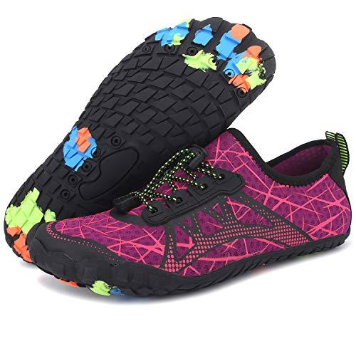 Centipede Demon Quick Dry Barefoot Water Shoes for Women Swim Diving Surf Sports Pool Beach for Men Purple Women 5.5 M