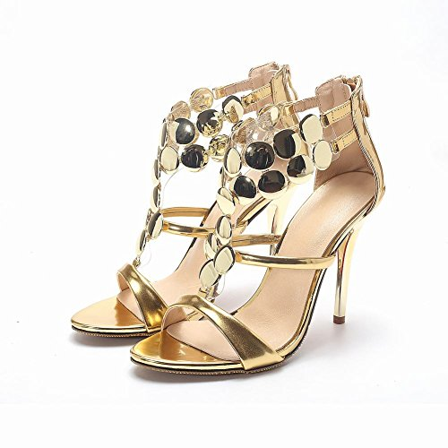 Ornament Heel High Sexy Women's Gold Sandals Metal Chic Dress Carolbar Stiletto wqF7wC