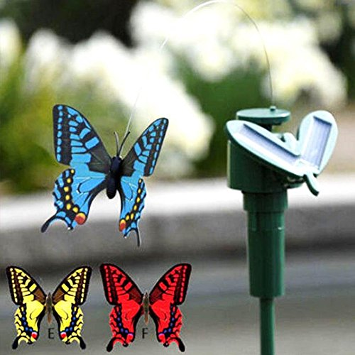 Gold Happy Vibration Solar Power Dancing Flying Fluttering Butterflies Hummingbird Garden Decorative Stake