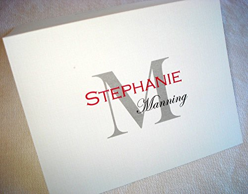 Personalized Note Cards Custom Printed with Full Name. 50 Folding Cards with Matching Envelopes. Laser Printed. Blank Inside.