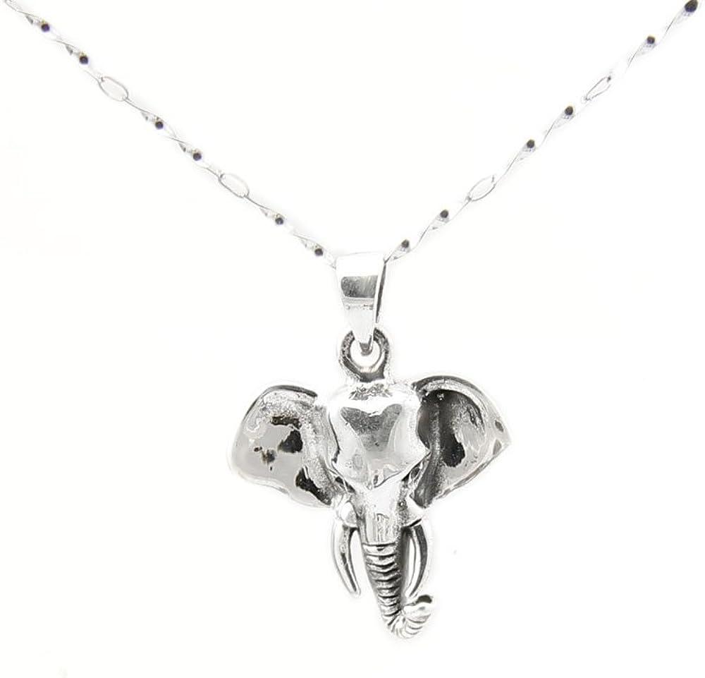 Agathe Creation N 40 - Colgante de elefante de plata 925 (sello), cordón negro