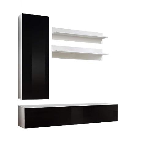 Conjunto Muebles de salón Colgantes Nora Blanco Negro Modelo H1