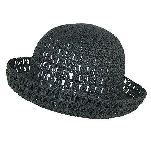 CTM Women's Toyo Straw Sun Crochet Bucket Hat, Black