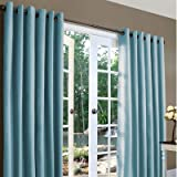 Weathermate Solid Cotton Grommet Top Curtain (Set of 2) Size: 84'' H x 160'' W, Color: Blue