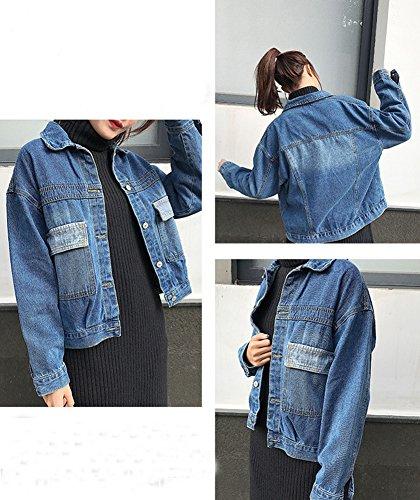 Jacket Manga Larga Corto Chaquetas Mujeres Tops Un Jacket Vaquera Abrigo Pecho Azul Mezclilla Chaqueta Solo De 0BOxnYSqw