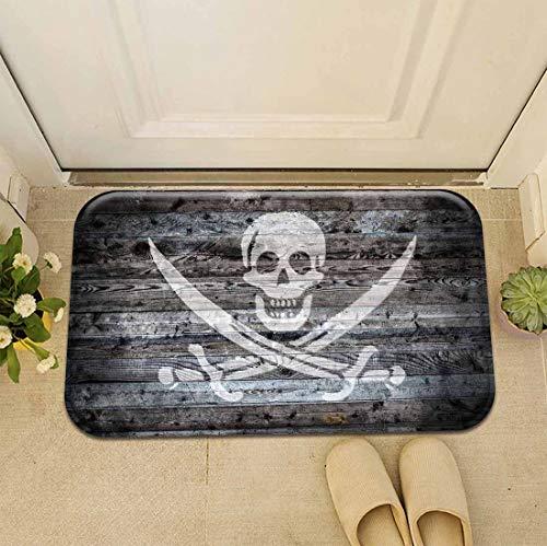 Renporits Decoration Classic Portrait Funny Doormat Entrance Mat Floor Mat Rug Front Door/Indoor/Outdoor/Bathroom/Kitchen Mats Non Slip Backing Machine Washable Carpet (Crossbone Skull Head)