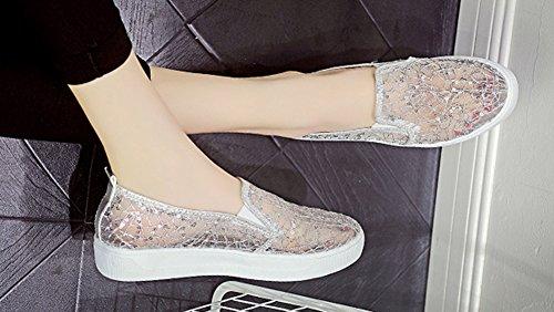 Aisun Tendance Gaze Paillettes Bout Rond Élastique Slip Sur Espadrilles Plate-forme Mocassins Chaussures Argent