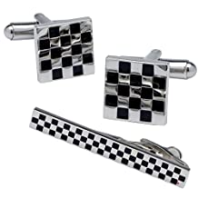 Cufflinks And Tie Clip In Check Design With Polished Finish
