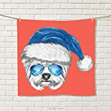 smallbeefly Yorkie Hand Towel Terrier with a Blue Santa Hat and Mirror Aviator Glasses Fun Hand Drawn Animal Quick-Dry Towels Coral White Blue Size: W 20'' x L 34''