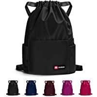 Waterproof Drawstring Gym Backpack Bag for Men & Women, Sport Gym Sack Mini Travel Daypack, A01-black, One Size…