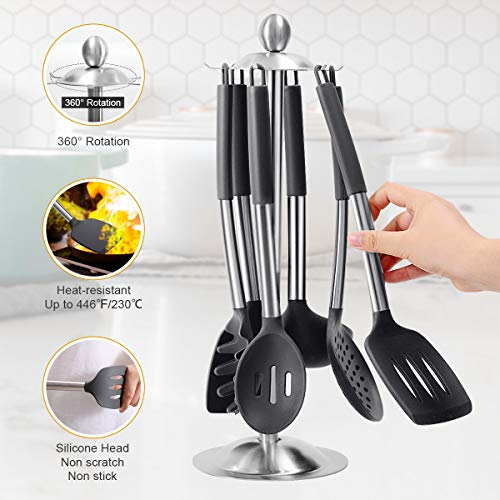 36PCS Stainless Steel Silicone Kitchen Cooking Utensil Set with Holder for Countertop, RCXHIKER Kitchen Utensil Spatula Set with Utensil Stand for Nonstick Cookware, BPA Free Non-Toxic (Dark Grey)