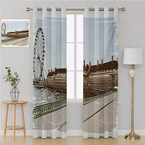 Benmo House London Gromit Curtains Blackout Curtains Panels for BedroomBuckingham Palace Historical Building Thames River Ferris Wheel Pencil Drawing Artcountry Curtain 108 by 96 InchMulticolor