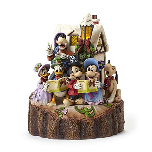 Disney Traditions by Jim Shore Mickey and Friends Caroling Light-Up Stone Resin Figurine, 7.25""