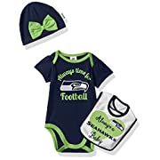 NFL Seattle Children Girls Bodysuit, Bib & Cap Set, 0-3 Months, Seahawks