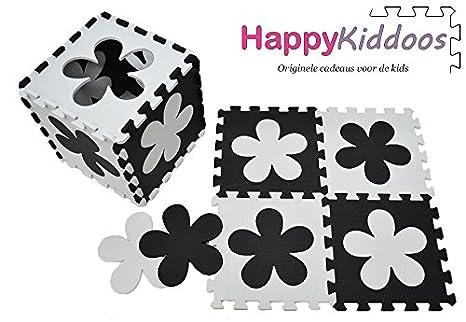 Happykiddoos Puzzlespielmatte Foam Matte. Spielmatte Schaumstoff Verriegelung Puzzle Kinderteppich. Jede Matte Hat Eine Größe von 30x30cm und ist 1 cm dick (Herz/Blume 20 Matte, Grau/weiß) Grau/weiß) S-GW