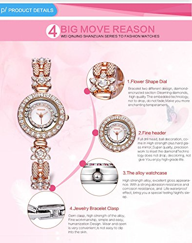 AStarsport Women Luxury Elegant Flower Rhinestone Flower Bangle Bracelet Watches Fashion Lady Dress Watch Analog Wristwatch Silver Pink by AStarsport (Image #5)