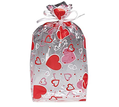 Happy Valentines Day Treat Bags Clear Cello Bags for Candy, Pack of 20