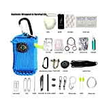 DAIQIU 29 in one multi-function Promotional outdoor All in one adventure hiking tool mil SPEC parachute cord braiding machine fire starter paracord pouch bracelet rope kit with knife (blue)