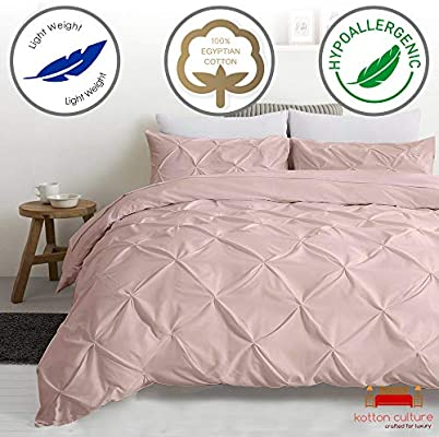 Kotton Culture Pinch Pleated 3 Piece Duvet Cover Set 100/% Egyptian Cotton 1000 Thread Count with Zipper /& Corner Ties Decorative Tuffed Pattern California King//King, White