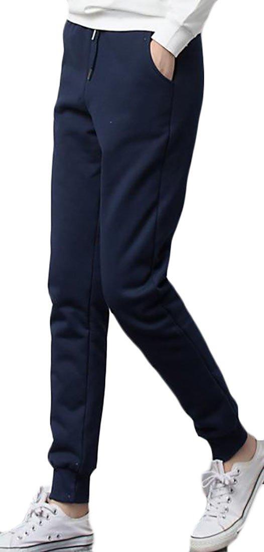 Pandapang Womens Solid Drawstring Padded Fleece Lined Pocket Jogger Pant Jewelry Blue L