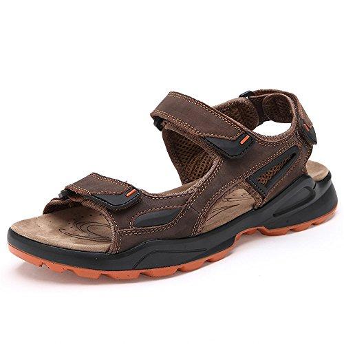 pelle da Khaki Size antiscivolo Sandali Color 1 41 Brown traspiranti Sandali EU da regolabili spiaggia in estive Pantofole uomo 3 CpOwnXq8