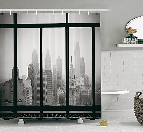 [House Decor Collection Philadelphia City Rooftop View Through Window Skyline Landmark Rooftop Travel Image Print Polyester Fabric Bathroom Shower Curtain Set with Hooks Gray] (Dr Gregory House Costume)