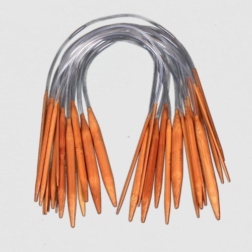 - ZXUY 18 Pairs 16'' (40cm) Circular Carbonized Bamboo Knitting Kits Needles Set (2.0mm - 10.0mm)