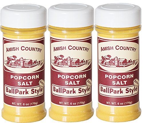Amish Country Popcorn - 3 Pack Ballpark ButterSalt (6 Ounce) Old Fashioned Goodness With Recipe Guide ()