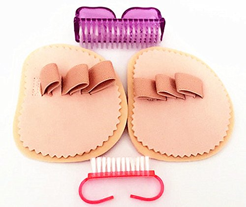 Right Foot Triple Toes Straightener Hammer Crooked Overlapping Toe Splint Corrector Separator。(Give 2 nail brushes)