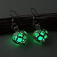 Fashion Women Earrings Glow In Dark Hollow Out Gift Valentine Day Jewelry Heart (green)