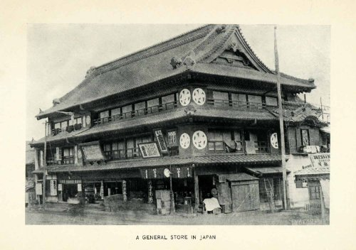 1906 Print General Store Japan Market Building Architecture Commerce Retail Sale - Original Halftone Print
